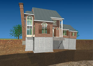 Kansas City, MO illustration of a settling, sinking foundation structure with a tilting chimney and cracked foundation