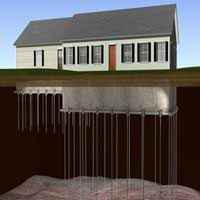 diagram of foundation push piers and helical piers stabilizing a ranch house foundation in Springfield, MO